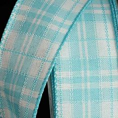 Light Turquoise Blue and White Plaid Pattern Wired Craft Ribbon 15 x 40 Yards ** For more information, visit image link.
