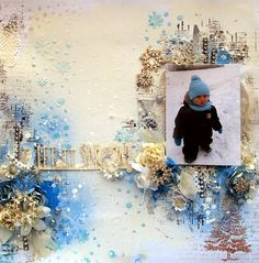 Scrap Around The World - December A Frosty Winter Mood Board - 'Let It Snow' layout by Anna Rogalska