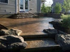 41 Super Ideas for stamped concrete patio steps sidewalks Concrete Patios, Concrete Backyard, Concrete Patio Designs, Backyard Patio, Concrete Steps, Colored Concrete Patio, Outdoor Landscaping, Landscaping Ideas, Patio Steps