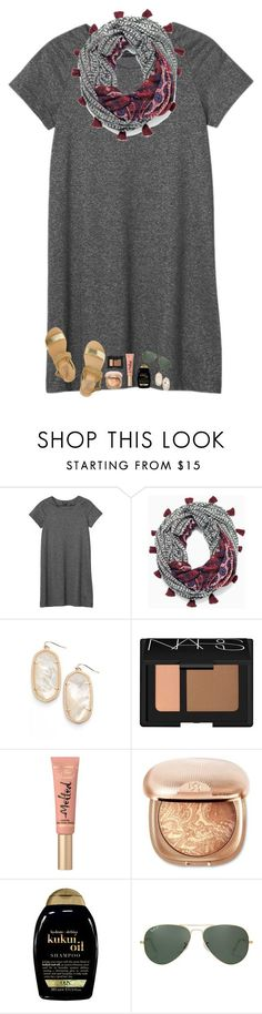 """""""If you don't stand firm in your faith, you won't stand at all!☺️"""" by southern-belle606 ❤ liked on Polyvore featuring Monki, Stella & Dot, Kendra Scott, NARS Cosmetics, Too Faced Cosmetics, Organix, Ray-Ban and Ancient Greek Sandals"""