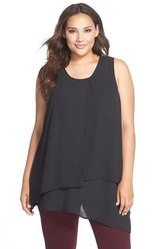 MELISSA MCCARTHY SEVEN7 Double Layer Asymmetrical Tank (Plus Size) available at #Nordstrom