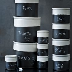 Covered Jars with Chalk Surface