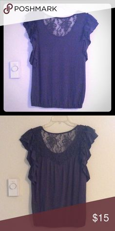 Gray Cotton Short-sleeved Shirt It's lacy... It's frilly... It's a super girly and feminine top in excellent condition. Dress it up with a pair of sleek black pants or dress it down with a casual pair of jeans - your choice! Belle Du Jour Tops Blouses