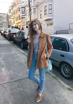 Get this look: http://lb.nu/look/8676739  More looks by Stephanie Lynn: http://lb.nu/airyfaeries  Items in this look:  Banana Republic Suede Jacket, American Apparel High Waist Jeans, Ralph Lauren Sneakers   #casual #classic #vintage
