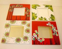 Bathroom Mirror Ideas Typical Examples or Suggestions to Mirror Painting, Dot Painting, Painting Frames, Painting On Wood, Unique Bathroom Mirrors, Small Mirrors, Painted Picture Frames, Frames On Wall, Decoupage