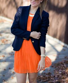 Navy blue and orange! Love these colors and the blazer look!
