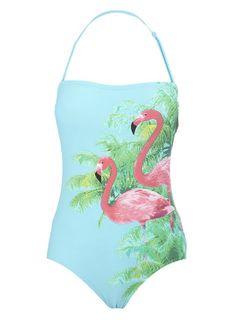Mint+Flamingo+Print+Swimsuit