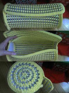 makings of crochet pop tab barrel