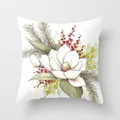Christmas Magnolia Watercolor Throw Pillow by Katrina Crouch - Cover x with pillow insert - Indoor Pillow Hand Embroidery Designs, Diy Embroidery, Big Pillows, Throw Pillows, Bed Cover Design, Diy Pillow Covers, Flower Pillow, Pillow Room, Printed Cushions