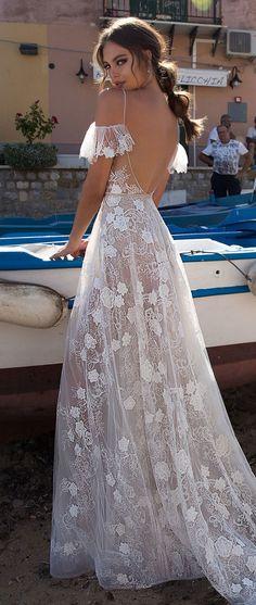 Wedding Gown MUSE by Berta Sicily Wedding Dress Collection Wedding Dresses 2018, Bridal Dresses, Wedding Dressses, Bohemian Prom Dresses, Sheer Wedding Dress, Dresses Dresses, Dresses Online, Bridal Collection, Dress Collection