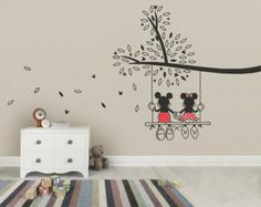 Mickey Mouse & Minnie Tree Swing Wall Sticker - Wall Art Decal made from Vinyl Childrens Bedroom Nursery Art