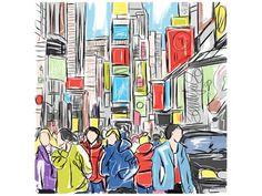 cuadro pintado a mano sobre lienzo de 3 cm de grosor. Pintura de Nueva York en hora punta, con gente paseando y comprando o dirigiendose al trabajo.