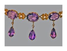 View this item and discover similar for sale at - Early century Amethyst and Pearl Lavalier Necklace, American, The Necklace claw set with five oval faceted medium tone amethyst, inter Gold Pearl Necklace, Antique Necklace, Antique Jewellery, Amethyst Jewelry, Art Nouveau Jewelry, Rosettes, Jewelry Necklaces, Drop Earrings, Pearls