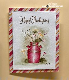 Just an easy Thanksgiving card for Day 4 of Clay Pot Crafts, Paper Crafts, Fall Cards, Christmas Cards, Art Impressions Stamps, Thanksgiving Cards, Stamping Up, Rubber Stamping, Watercolor Cards