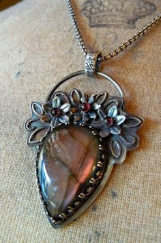 Large, Heart-Shaped Plum Labradorite Pendant with Amethysts and Oxidized Sterling Silver...pinned by ♥ wootandhammy.com, thoughtful jewelry.