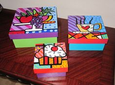 Painted Wooden Boxes, Painted Jewelry Boxes, Wood Boxes, Hand Painted, Newspaper Crafts, Cork Crafts, Diy And Crafts, Wood Box Design, Cigar Box Art