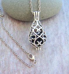 Filigree Teardrop Essential Oil Diffuser Necklace, Aromatherapy Necklace