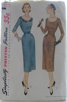 1950s Sheath Dress Sewing Pattern - Simplicity