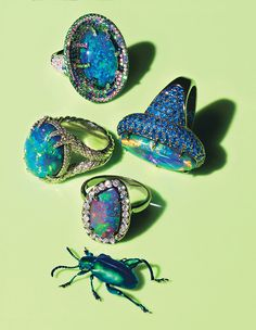 Bugging out for these iridescent jewels.  Photograph by Horacio Salinas; styled by Claudia Mata; W magazine January 2012.