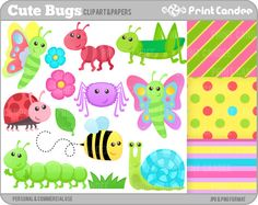 Cute Bugs - BUY 2 GET 2 FREE - Digital Clip Art - Personal and Commercial Use - insects ant bee lady bug ladybug caterpillar