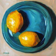 Lemon Still Life Oil Painting - Yellow On Blue by Sharon Schock #OilPaintingFood