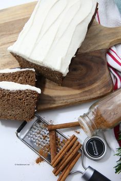 Bake up a Gingerbread Loaf with Cream Cheese Frosting by following this holiday recipe.