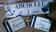 NAUTICAL Wedding Signs NAVY Wedding Here Comes The Bride Anchored in Love Her Captain & His First Mate Navy Stripes and Anchor
