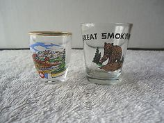 Vintage Lot Of 2 Advertising Shot Glasses,1,Great Smoky Mtns,1,Luzern Kapellbruc #vintage #collectibles #kitchen #home