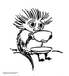 Stressful day, then sit down , calm down and have a nice cup of moomin tea ~ Tove Jansson Art And Illustration, Totoro, Moomin Valley, Tove Jansson, Fun Cup, Fairy Tales, Character Design, Comic, Sketches