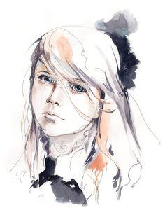 Impression dart de portrait de fille aquarelle par CanotStopPrints