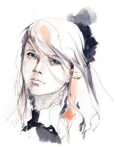 Girl portrait art print watercolor and ink by CanotStopPrints