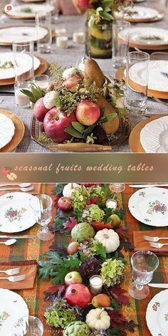 Top 23 Remarkable Rustic Wedding Centerpieces--- pomegranates and pumpkins centerpieces for fall weddings Burlap Wedding Decorations, Pumpkin Centerpieces, Rustic Wedding Centerpieces, Wedding Table Centerpieces, Rustic Weddings, Country Weddings, Pomegranate Wedding, Pumpkin Wedding, In Season Produce