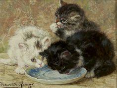 Henriëtte  Ronner - Knip   1821 - 1909 - Three kittens