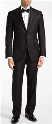 Hickey Freeman - Classic Fit Worsted Wool Tuxedo: This one button, peak lapel tuxedo is a great choice for the father of the bride, groom, or anyone looking for an everyman-fit tuxedo that will always be in style.