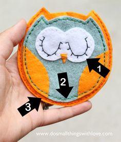 Felt owl pouch with template Pinned by www.myowlbarn.com