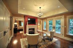 double sided fp Fireplace Trim, Corner Bathtub, House Ideas, Corner Tub