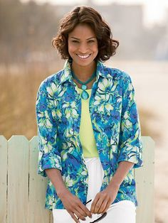 Shop Island Floral Crinkle Big Shirt and other Womens Woven Tops and Womens Clothing in Misses, Petite, and Plus Size at Appleseed's.