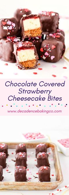 Chocolate Covered Strawberry Cheesecake Bites: Bite sized cheesecake squares topped with a strawberry layer and covered in chocolate.