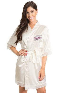 85376866ce Personalized Embroidered Satin Lace Robe in Ren Overlay Style