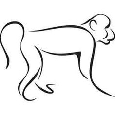Hippo Drawing, Monkey Drawing, Simple Line Drawings, Easy Drawings, Line Art Tattoos, Body Art Tattoos, Outline Drawings, Animal Drawings, Celtic Knot Tattoo