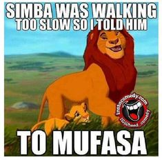 Simba was moving too slow so I told him mufasa!!