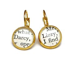Mr Darcy & Lizzy Earrings Pride And Prejudice by missbohemia, £8.00