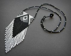 Black and White peyote beaded necklace - seed bead jewelry - beaded pendant - ethnic Seed Bead Necklace, Seed Bead Jewelry, Beaded Jewelry, Handmade Jewelry, Beaded Purses, Beaded Bags, Beaded Brooch, Beaded Earrings, Bead Loom Patterns