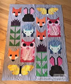 Fancy Forest Baby (aka Quilt Miracle of Fox Quilt, Bird Quilt, Baby Quilt Patterns, Owl Patterns, Owl Baby Quilts, Elizabeth Hartman Quilts, Felt Owls, Animal Quilts, Contemporary Quilts