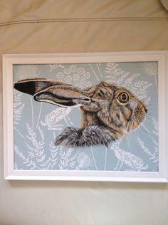 Original Large Wild Hare Picture Painting Kieldar Hare Fabric Chapman | eBay