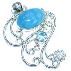 Large Genuine Aquamarine Swiss Blue Topaz .925 Sterling Silver handmade Pendant