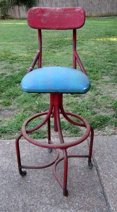 1940's~Machine Age Swivel Drafting Chair -- Industrial