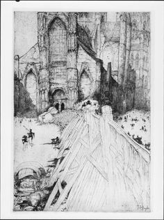 Jules De Bruycker - Etsen - Eaux-fortes - Etchings/J.D.B. 243 L'EGLISE ST.NICOLAS 1928