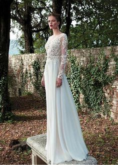 Elegant Tulle & Chiffon Bateau Neckline Natural Waistline Sheath Wedding Dress With Beaded Lace Appliques
