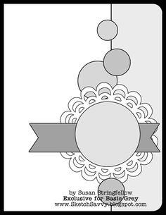 BasicGrey Card Sketch by Susan Stringfellow. BasicGrey Card Sketch by Susan Stringfellow. Scrapbook Layout Sketches, Card Sketches, Scrapbook Cards, Scrapbook Photos, Card Kit, Card Tags, Door Tags, Stampin Up, Card Making Templates